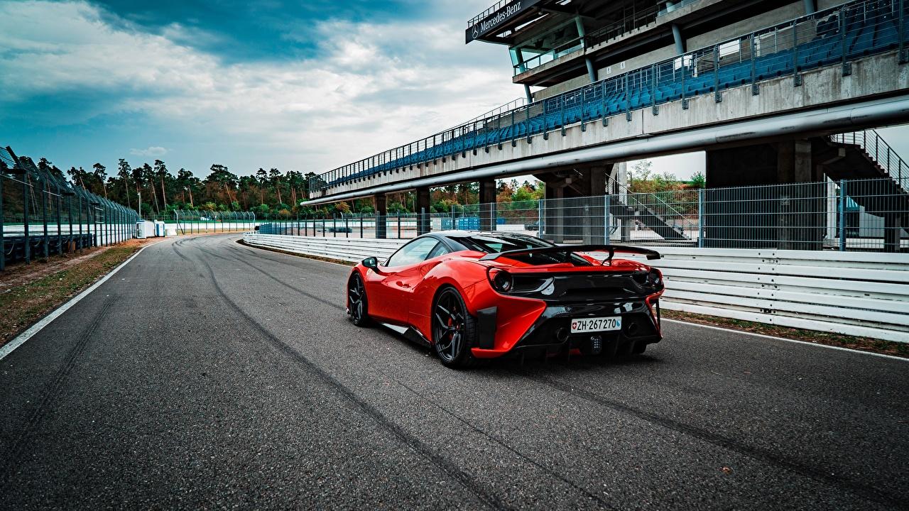 Фото Феррари GTB 2018 488 Pogea Racing FPlus Corsa красные вид сзади Автомобили Ferrari красных Красный красная авто Сзади машина машины автомобиль