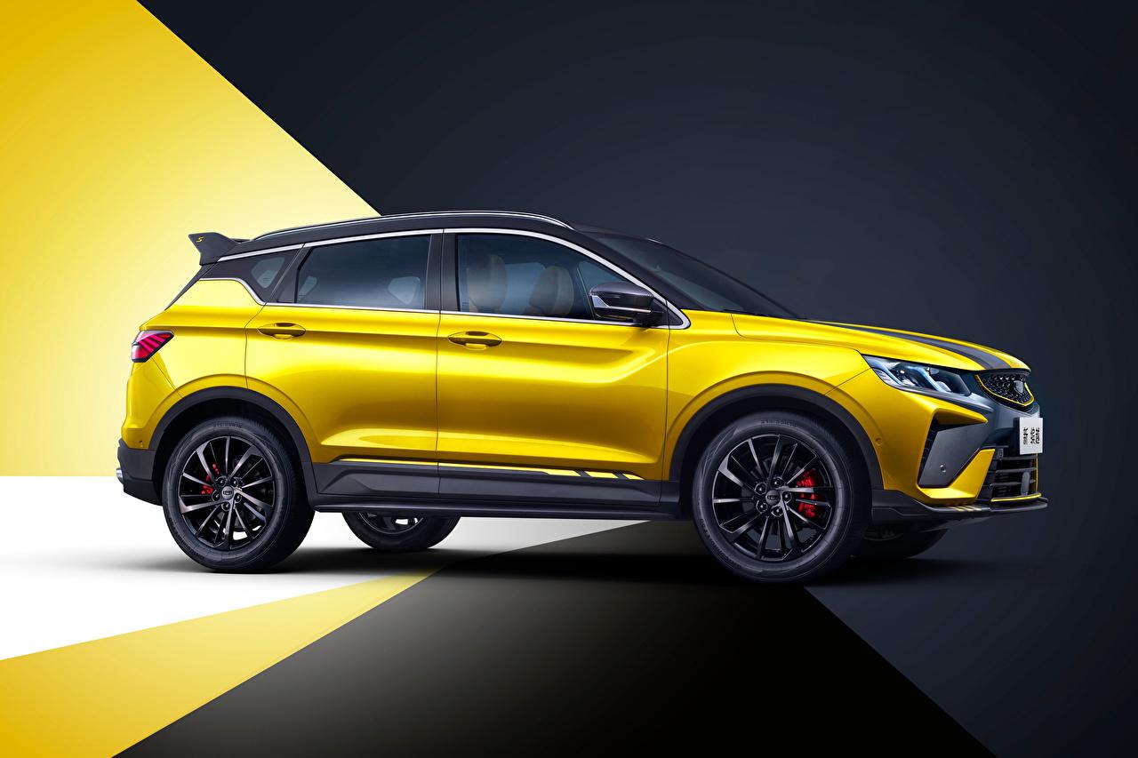 Обои для рабочего стола Geely китайский CUV Bin Yue S 'Battle' (SX11), 2021 желтых Сбоку Металлик Автомобили Китайские китайская Кроссовер желтая желтые Желтый авто машины машина автомобиль