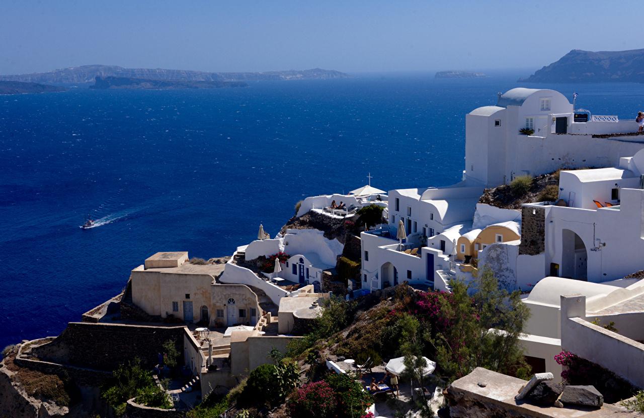 Фото Санторини Греция Море Дома Города Тира Фира город Здания