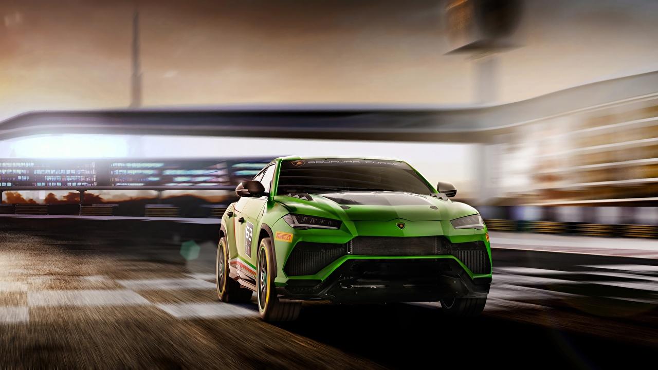 Фото Ламборгини Urus 2019 ST-X Зеленый Авто Lamborghini Машины Автомобили