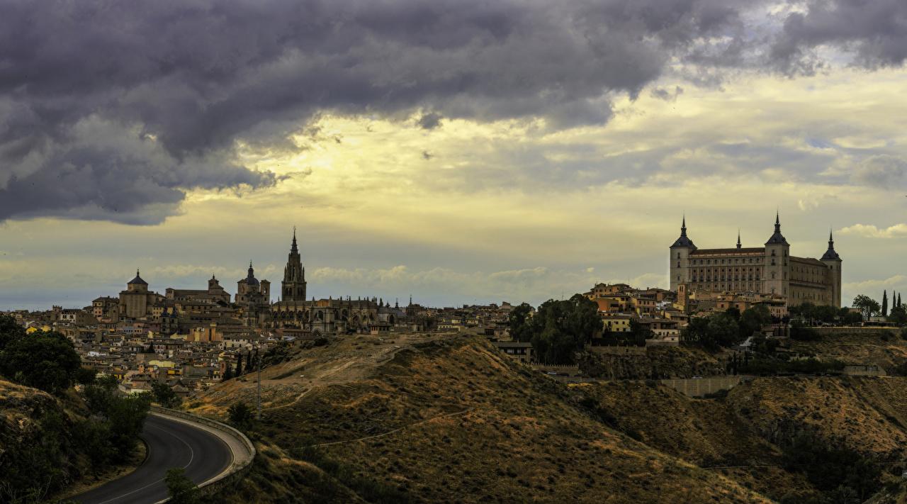 Фотографии Толедо Испания Дороги Города Здания Дома город