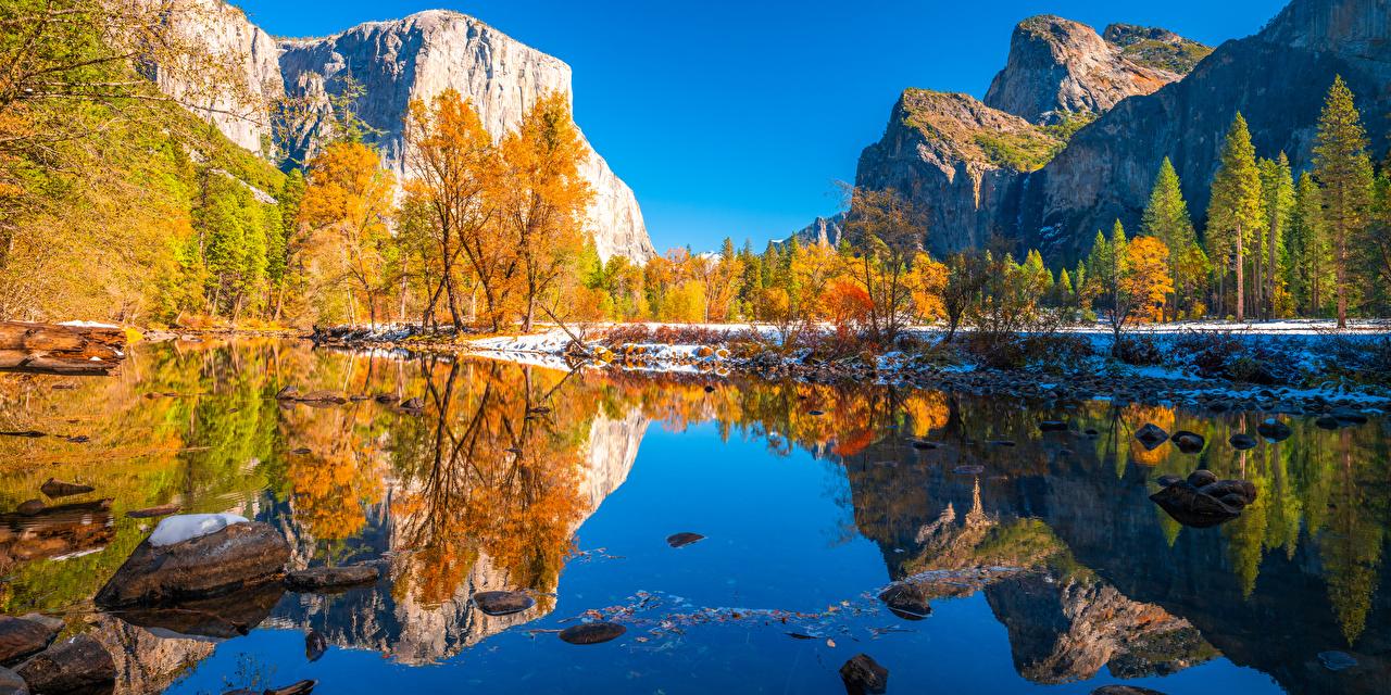 Фотография Йосемити калифорнии США гора Осень скалы Природа Парки Отражение дерева Калифорния штаты америка Горы Утес скале Скала осенние парк отражении отражается дерево Деревья деревьев
