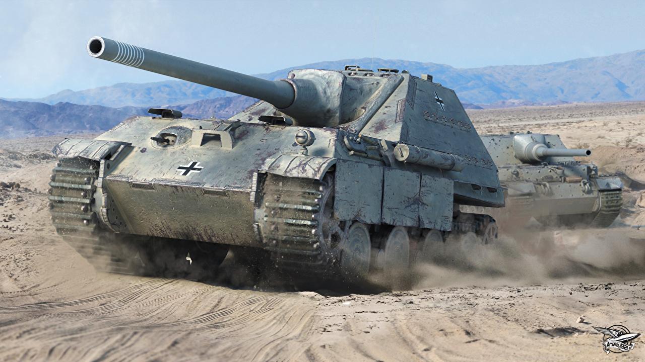 Фото WOT САУ Jagdpanther II, Ferdinand компьютерная игра World of Tanks Самоходка Игры