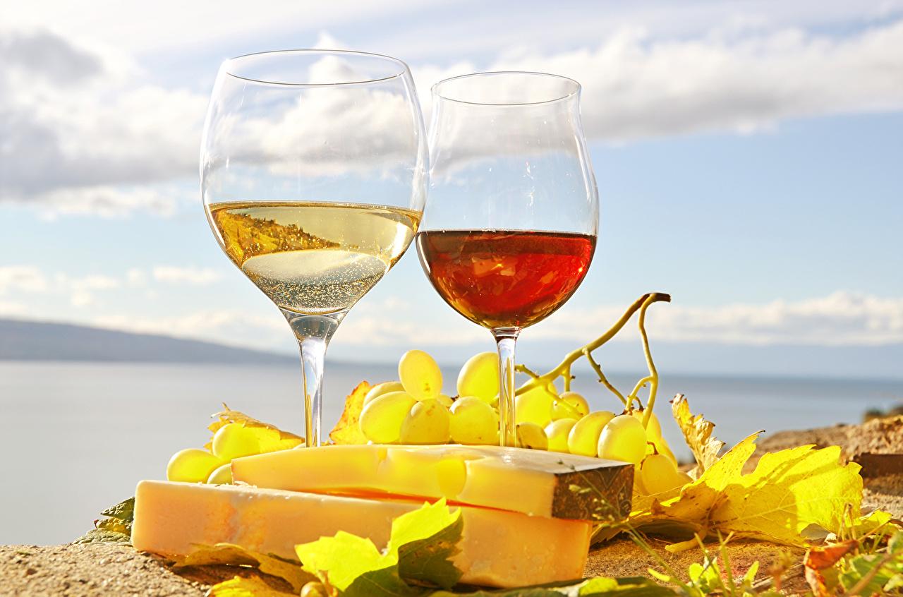 Фото Вино Сыры Виноград Пища бокал напиток Еда Бокалы Продукты питания Напитки