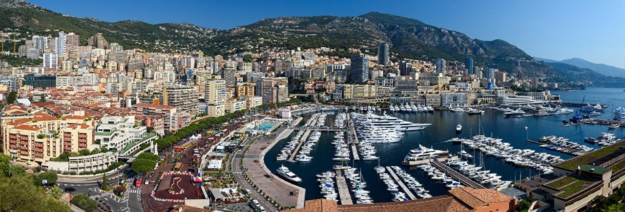 Фото Монте-Карло Монако Port Hercules Яхта Пирсы Катера заливы город Залив залива Причалы Пристань Города