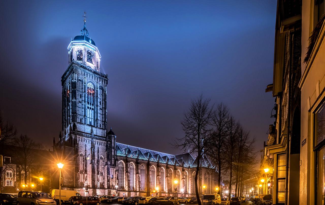 Фотографии Нидерланды Deventer Улица Ночь Храмы Уличные фонари Города Ночные