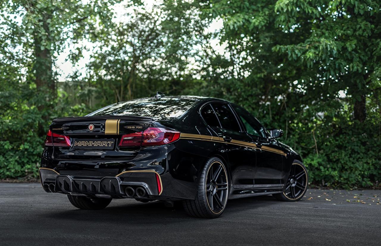 Фотографии БМВ 2018 Biturbo Manhart M5 V8 F90 723 MH5 черная Сзади Автомобили BMW Черный черные черных авто машины машина вид сзади автомобиль