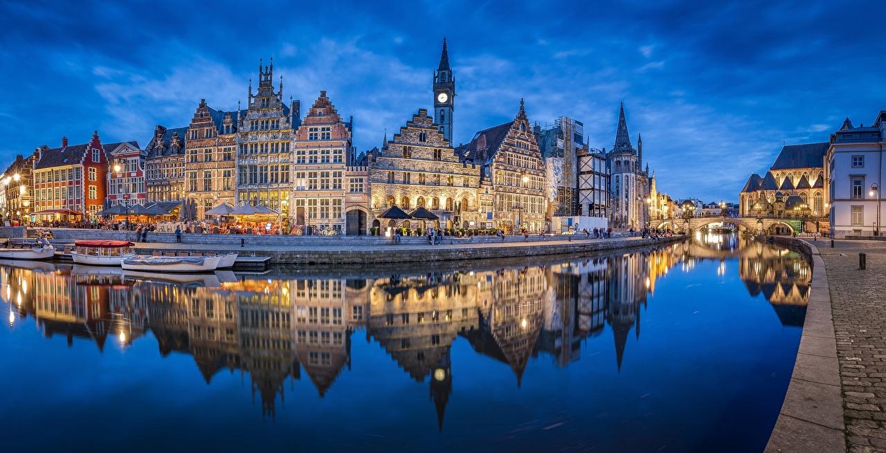 Картинка Гент Бельгия Leie River отражении Реки Набережная Дома город Отражение отражается река речка набережной Здания Города