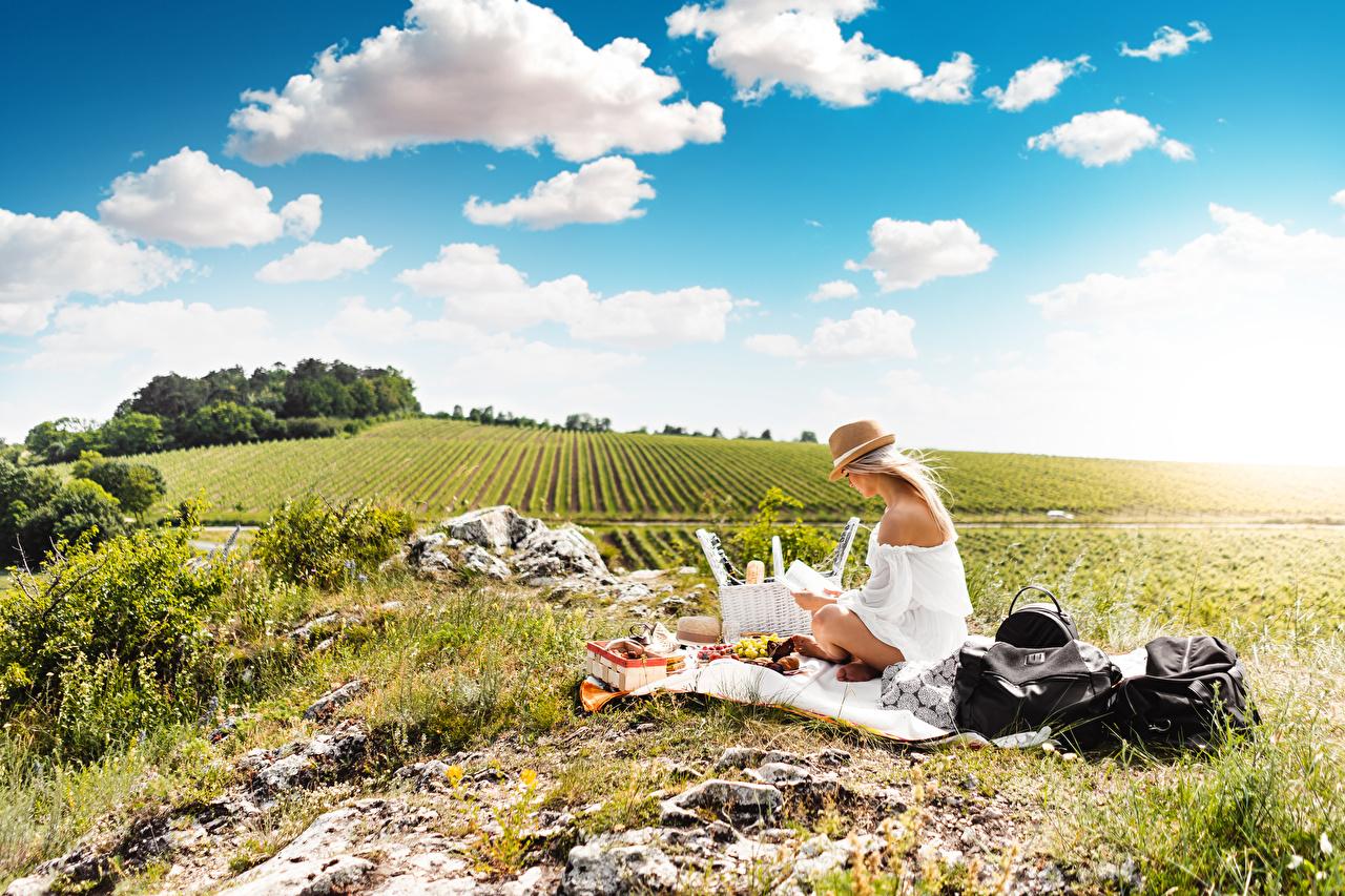 Картинки Пикник Блондинка Лето Шляпа Природа Поля Небо Трава Сидит пикнике блондинки блондинок шляпы шляпе сидя траве сидящие
