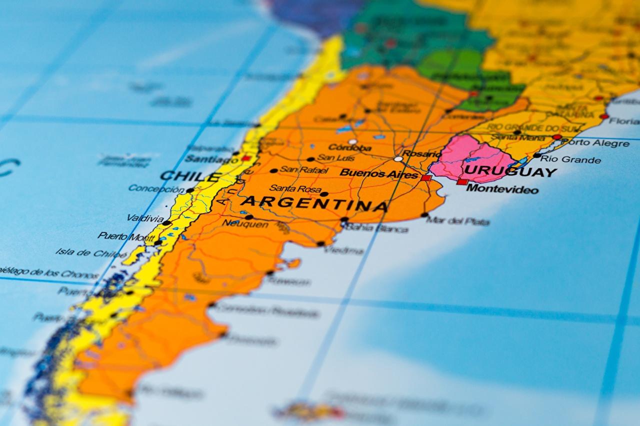 Картинка Географическая карта Чили Аргентина South America География