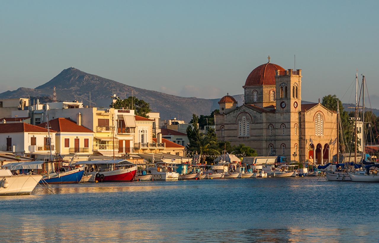Фотография Монастырь Греция Corfu, Aegean sea, Monastery Of Theotokou Море Остров Лодки Причалы Города Пирсы Пристань