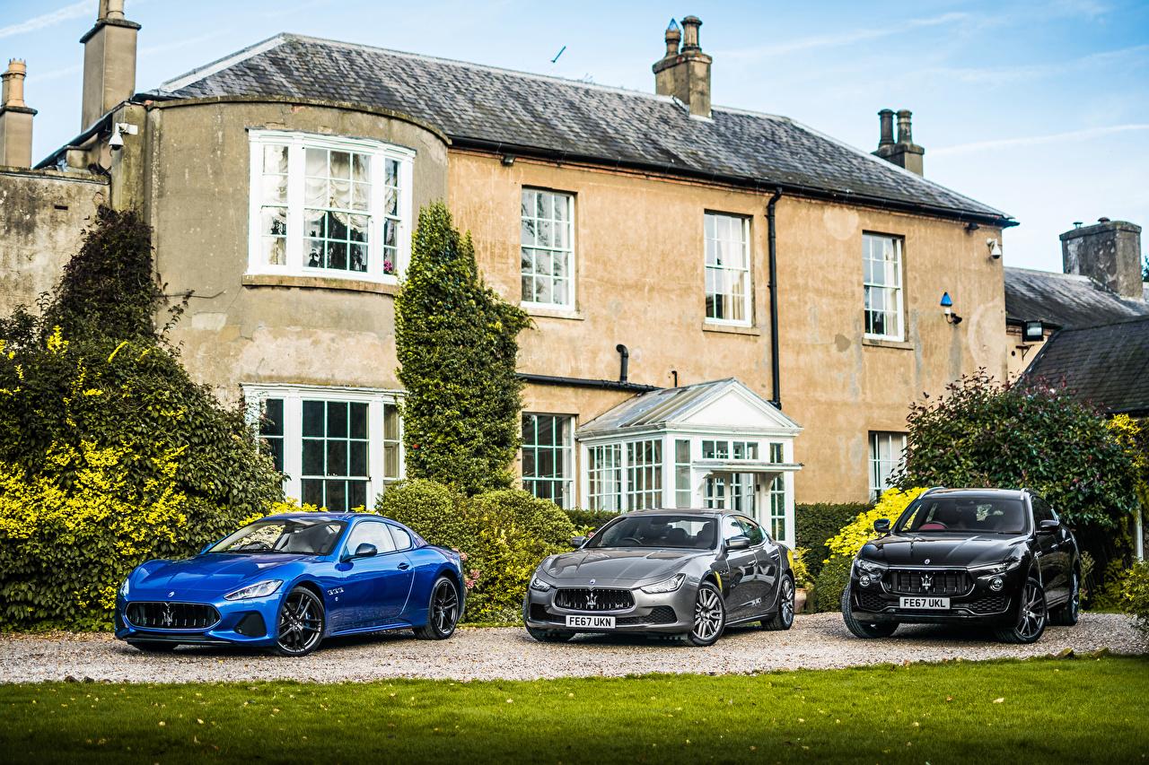 Фото Мазерати три авто Металлик Maserati Трое 3 машина машины втроем автомобиль Автомобили