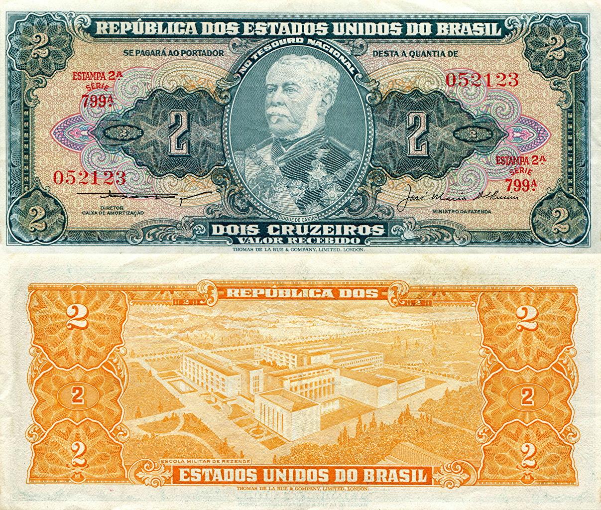 Фотографии Купюры Бразилия 2 cruzeiro Деньги Банкноты