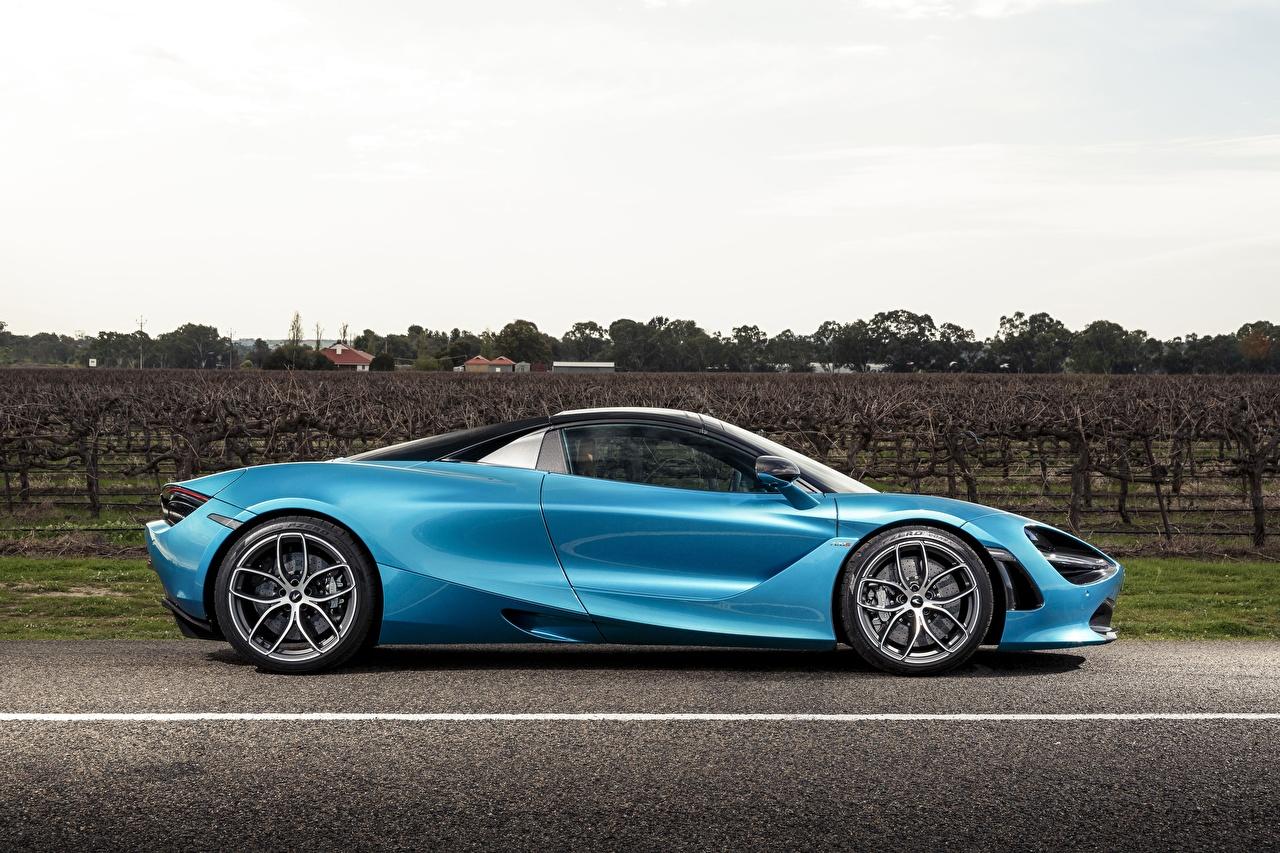 Фото McLaren Spider, 720S, 2019 голубых Сбоку Металлик автомобиль Макларен голубая голубые Голубой авто машины машина Автомобили