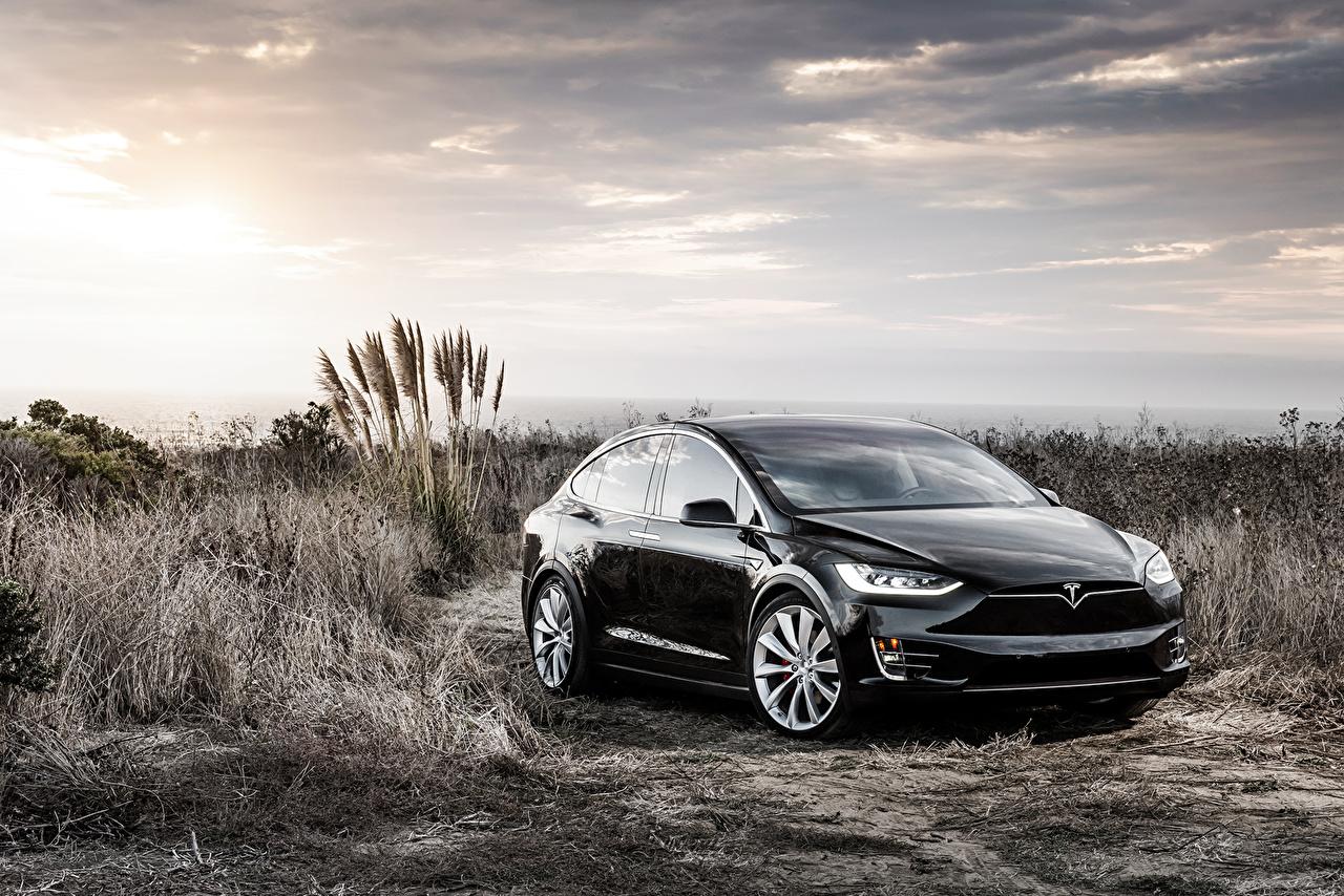 Фото Tesla Motors Model X Black черные Автомобили Тесла моторс черных Черный черная Авто Машины