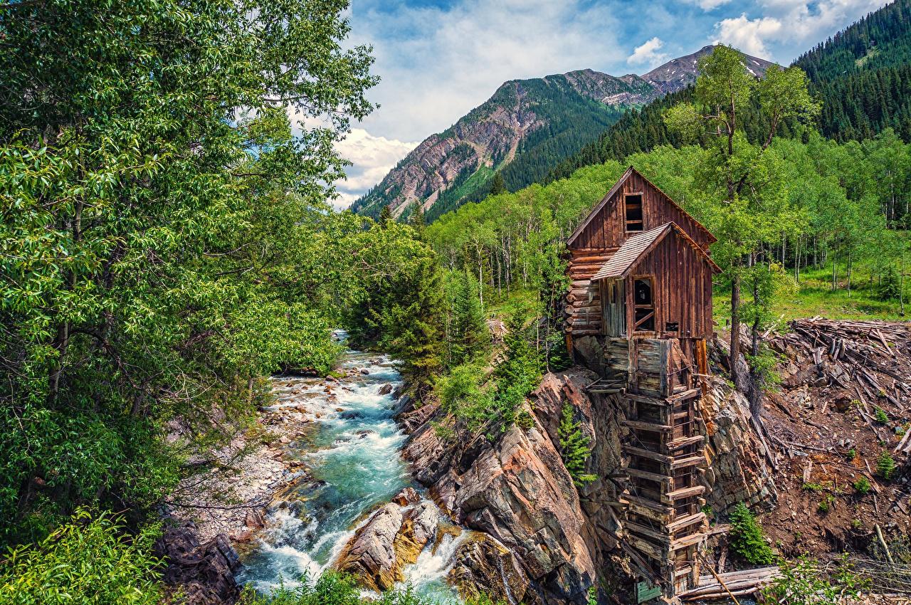 Картинка США Мельница Crystal River Colorado Горы Природа Леса Реки штаты речка