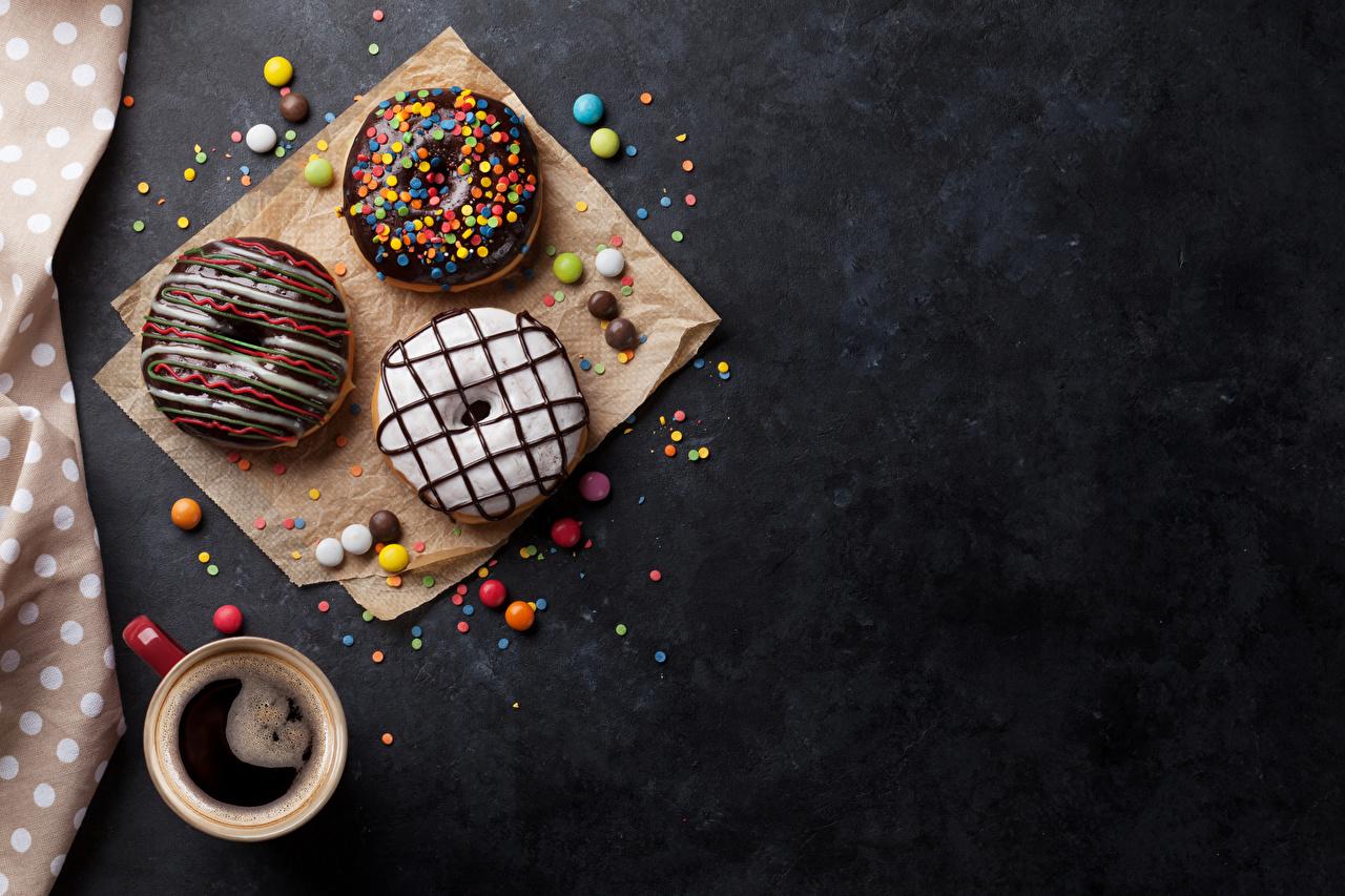 Картинки Шоколад Кофе Пончики Еда Чашка Пища чашке Продукты питания
