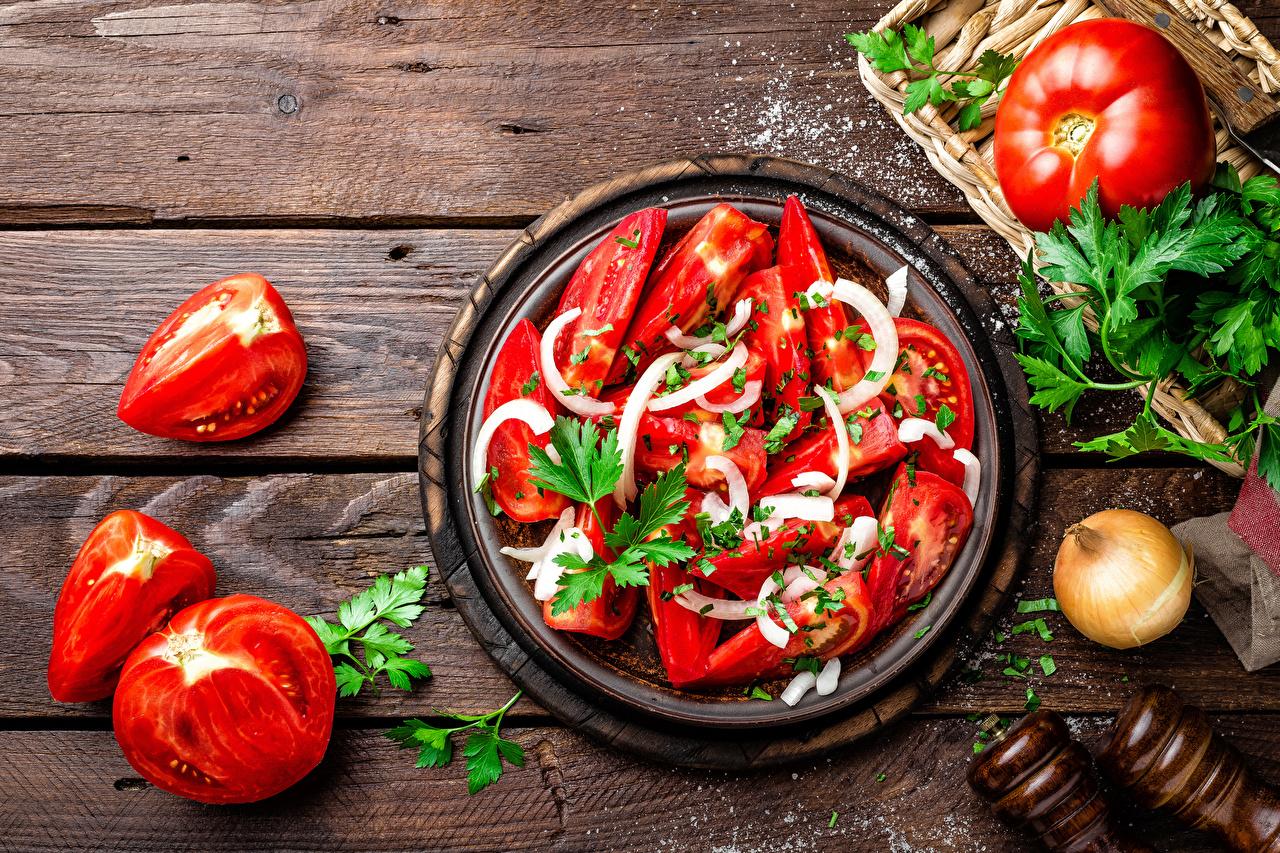 Фотография Помидоры Еда Овощи Салаты Доски Томаты Пища Продукты питания