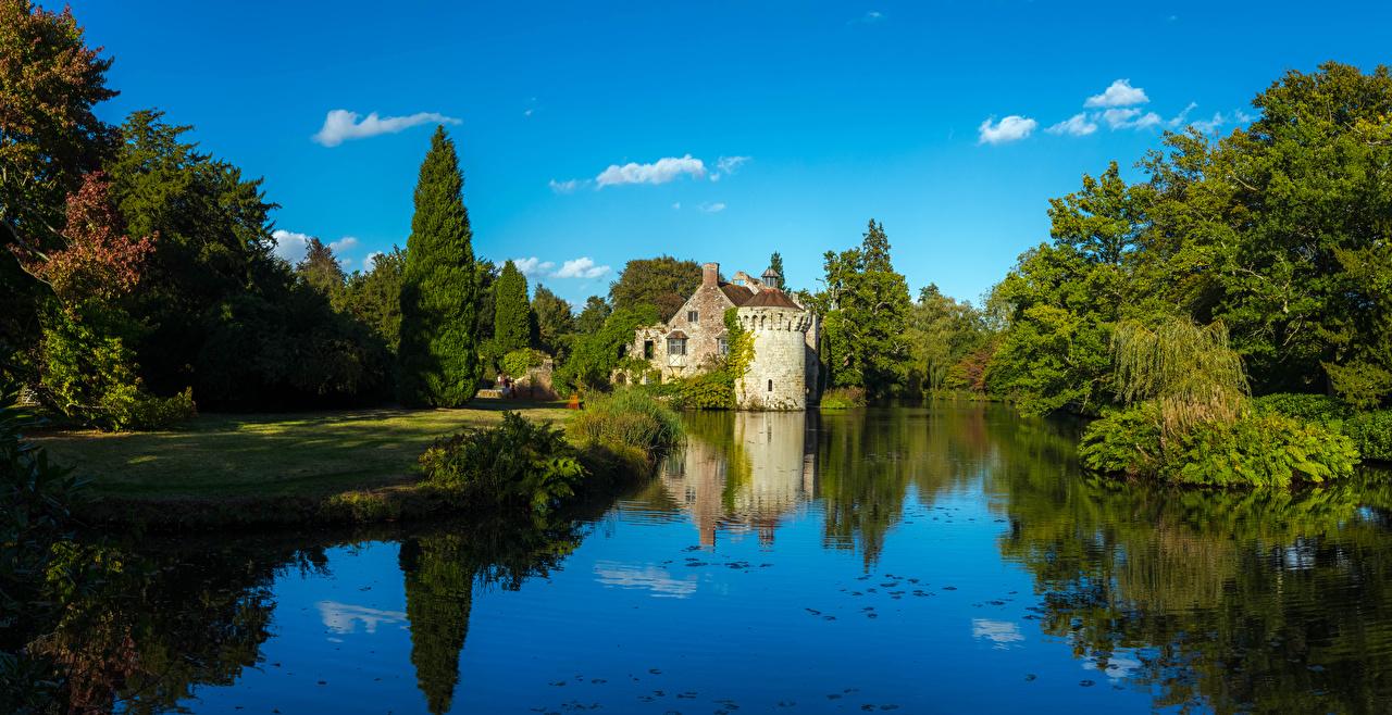 Фотографии Великобритания Scotney Castle замок Пруд Города дерево Замки город дерева Деревья деревьев
