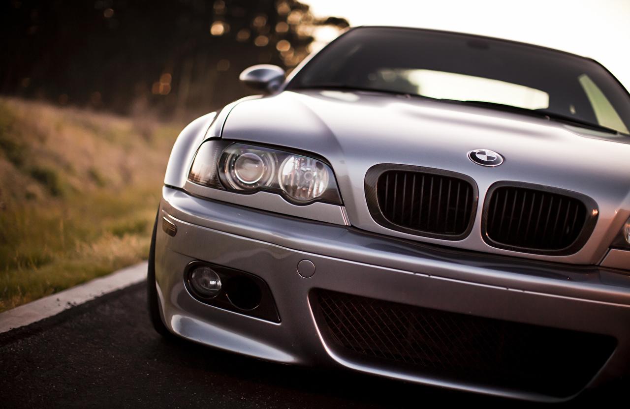 Фото BMW M3 серебристая Фары машина Спереди БМВ серебряный серебряная Серебристый фар авто машины Автомобили автомобиль