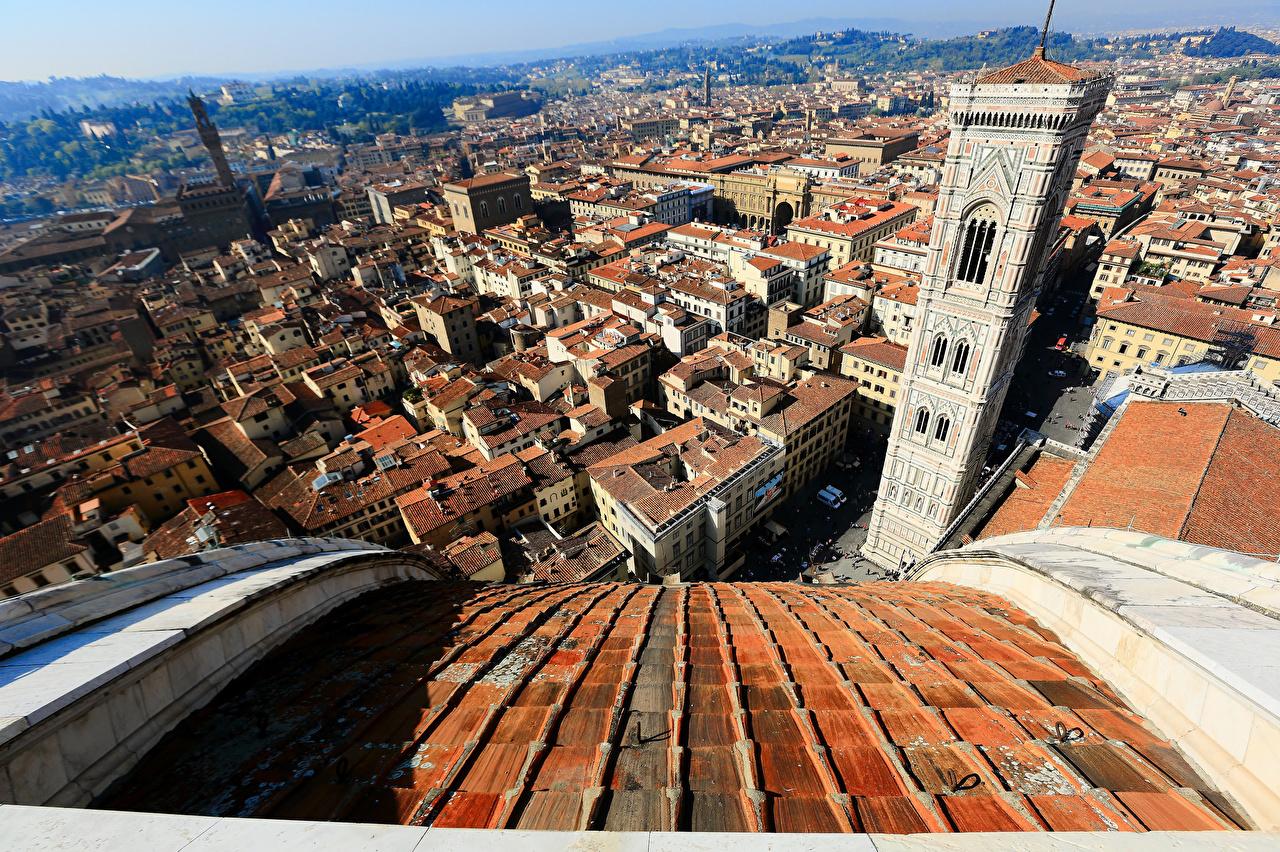 Дома Италия Florence Cathedral of Saint Mary of the Flower Сверху Башня Здания, вид Города