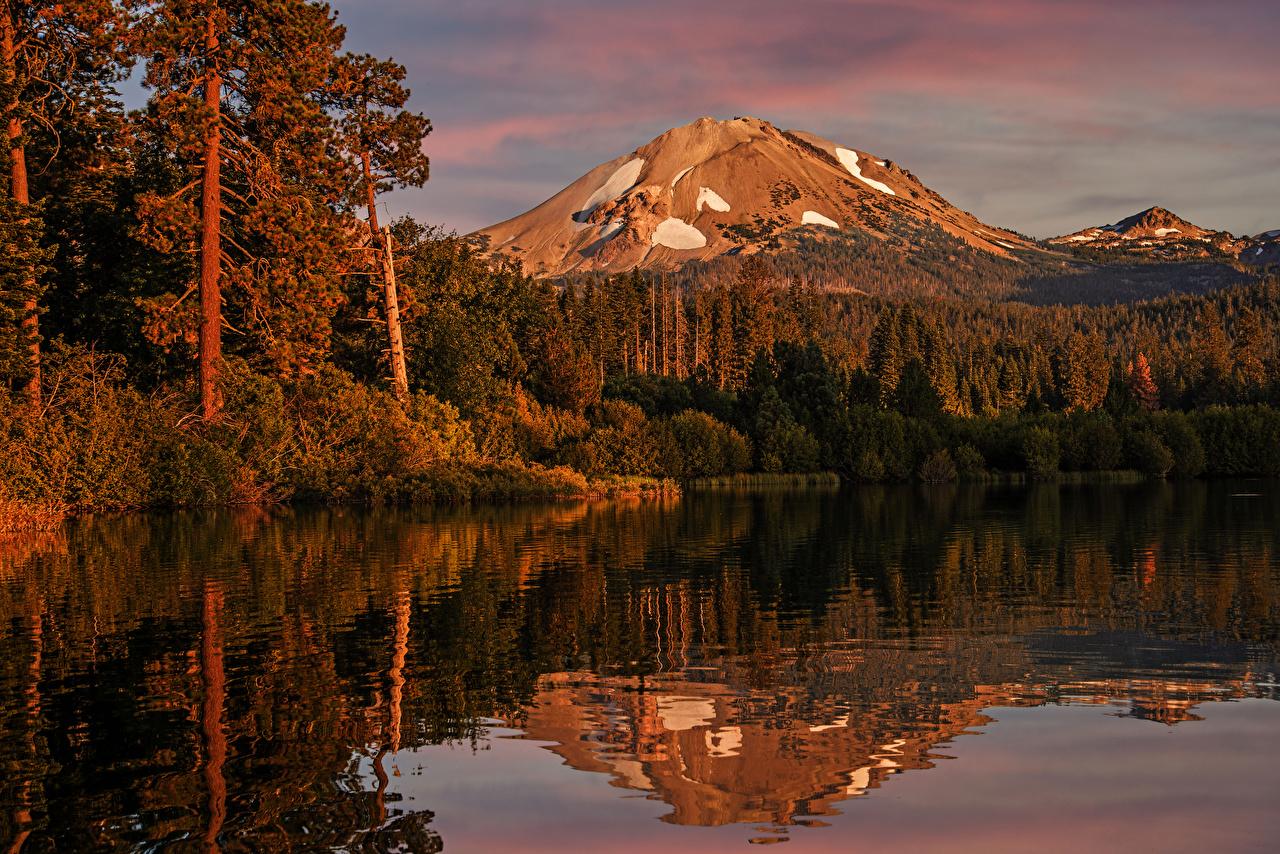 Фотография штаты Lake Manzanita Lassen Volcanic National Park Горы Природа осенние парк Леса Озеро отражается США америка гора Осень лес Парки Отражение отражении