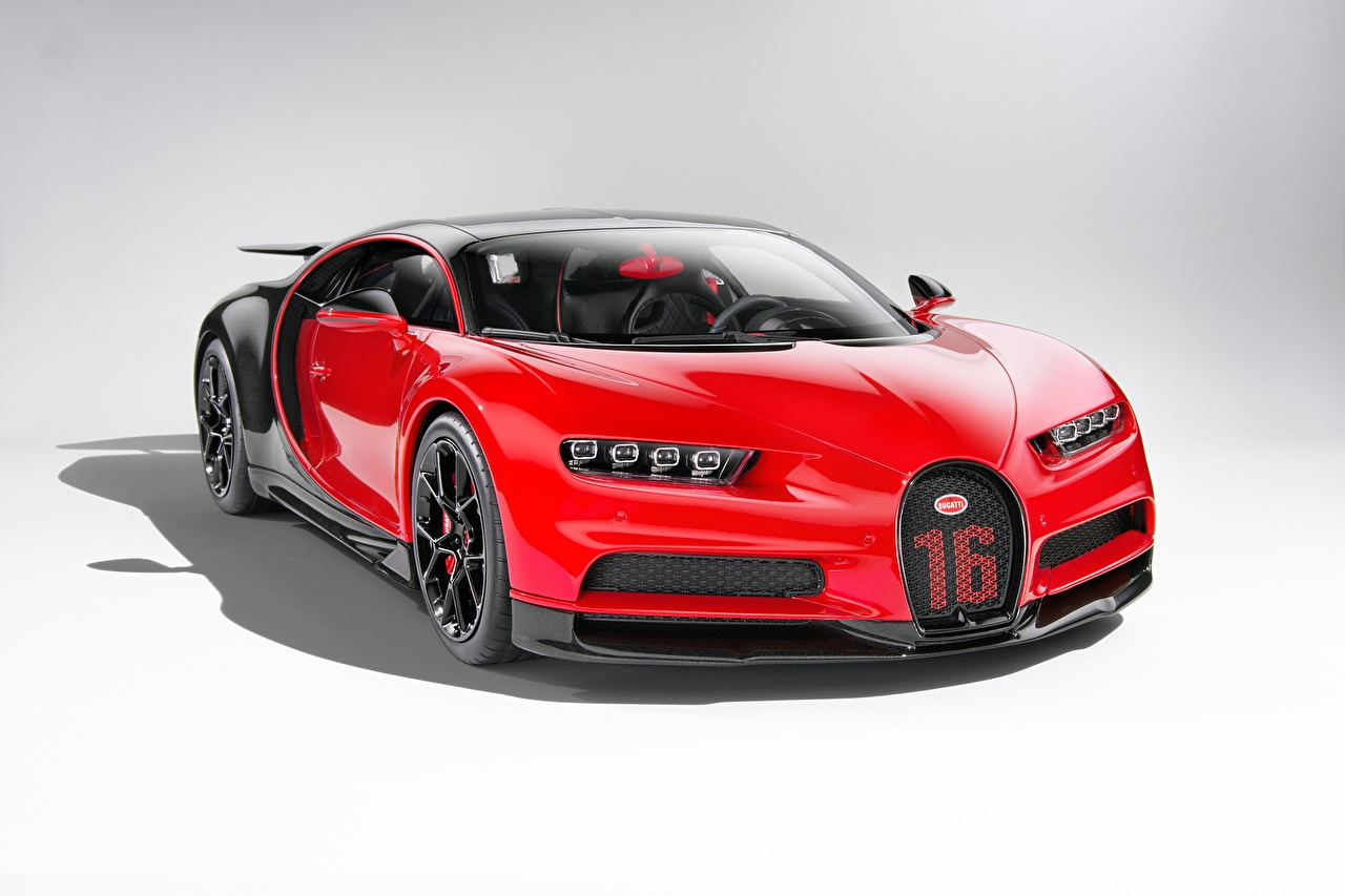 Фотографии BUGATTI Bugatti Chiron, giperkar Купе Красный авто Металлик красных красные красная машина машины автомобиль Автомобили