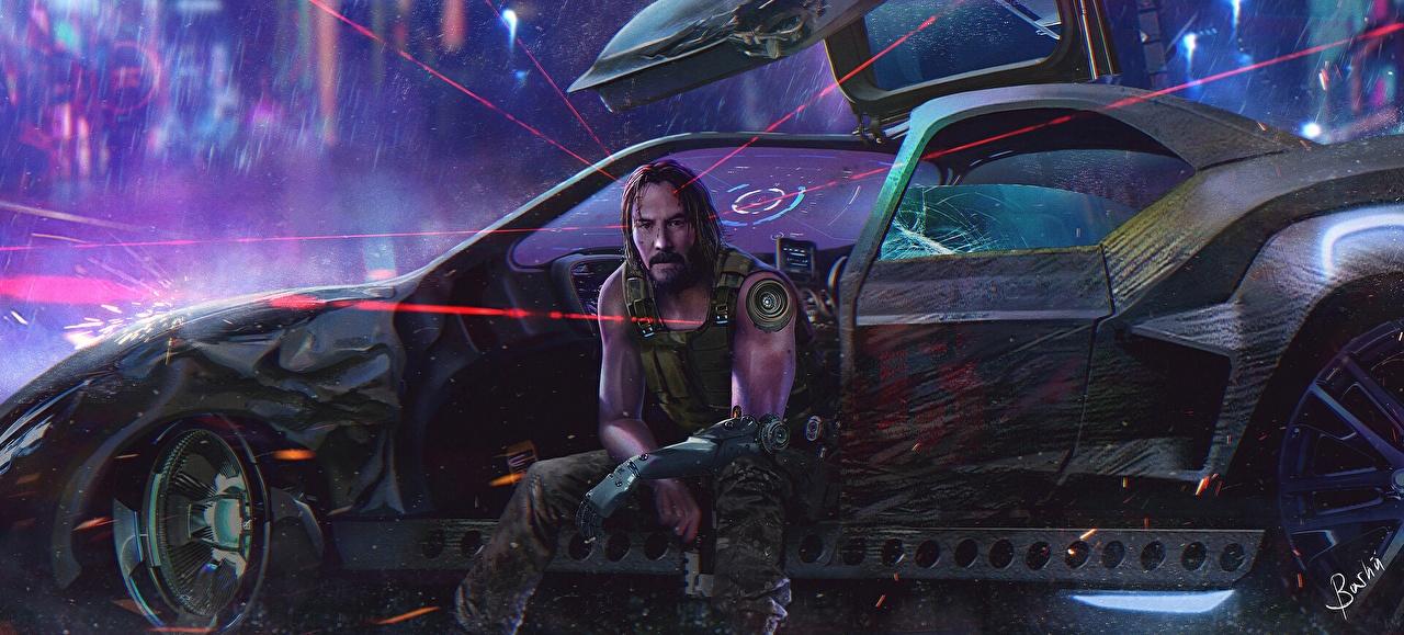 Обои для рабочего стола Киану Ривз киберпанк 2077 Мужчины Фантастика компьютерная игра сидя машина Знаменитости Keanu Reeves Cyberpunk 2077 мужчина Фэнтези Игры авто Сидит машины сидящие Автомобили автомобиль