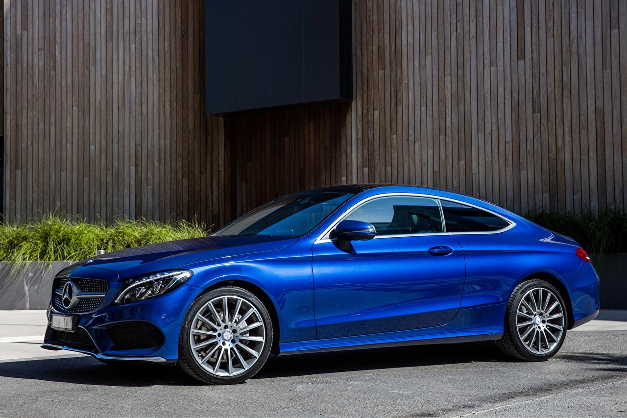 Фотография Мерседес бенц AMG C-Class C205 Купе Синий машина Mercedes-Benz синяя синие синих авто машины Автомобили автомобиль