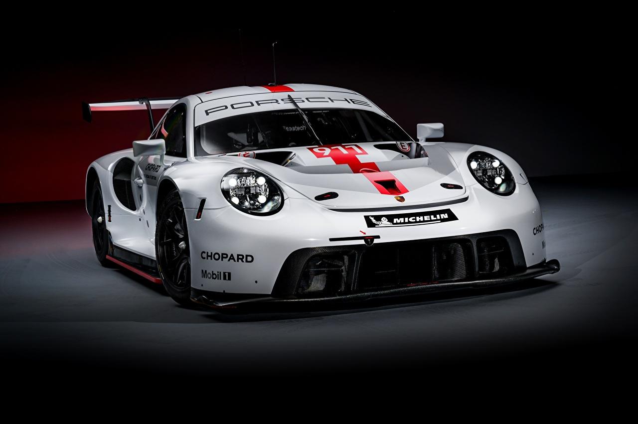 Фотография Porsche RSR 2019 белая Автомобили Порше Белый белые белых авто машины машина автомобиль