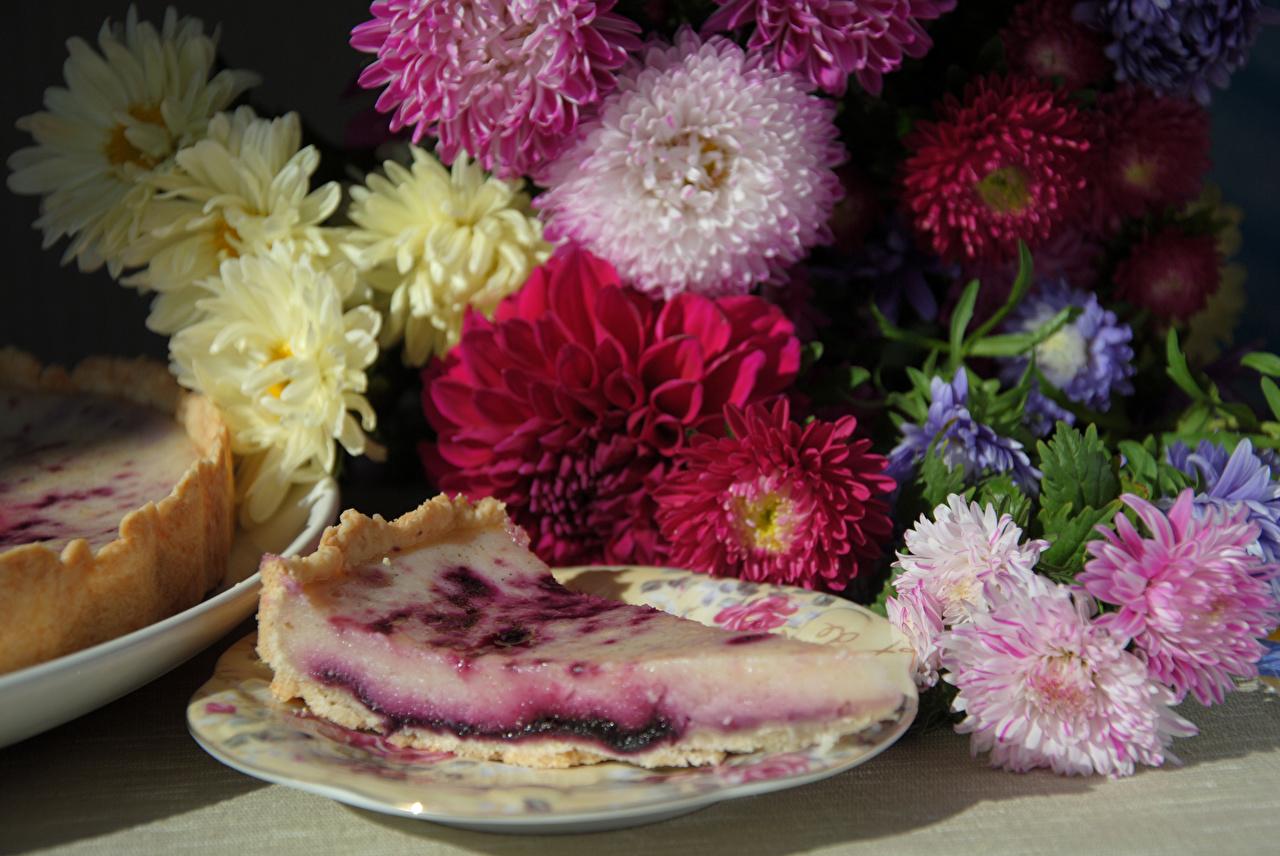 Фотография Цветы Пирог Астры Кусок Тарелка Чизкейк Натюрморт цветок часть кусочки кусочек тарелке