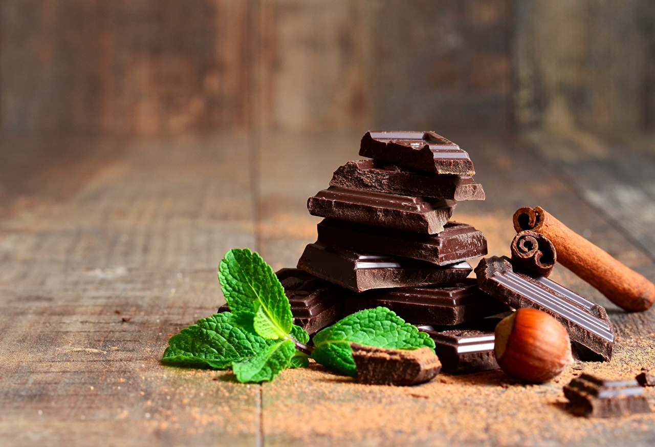 Картинки Шоколад Мята Пища Орехи Крупным планом Еда Продукты питания вблизи
