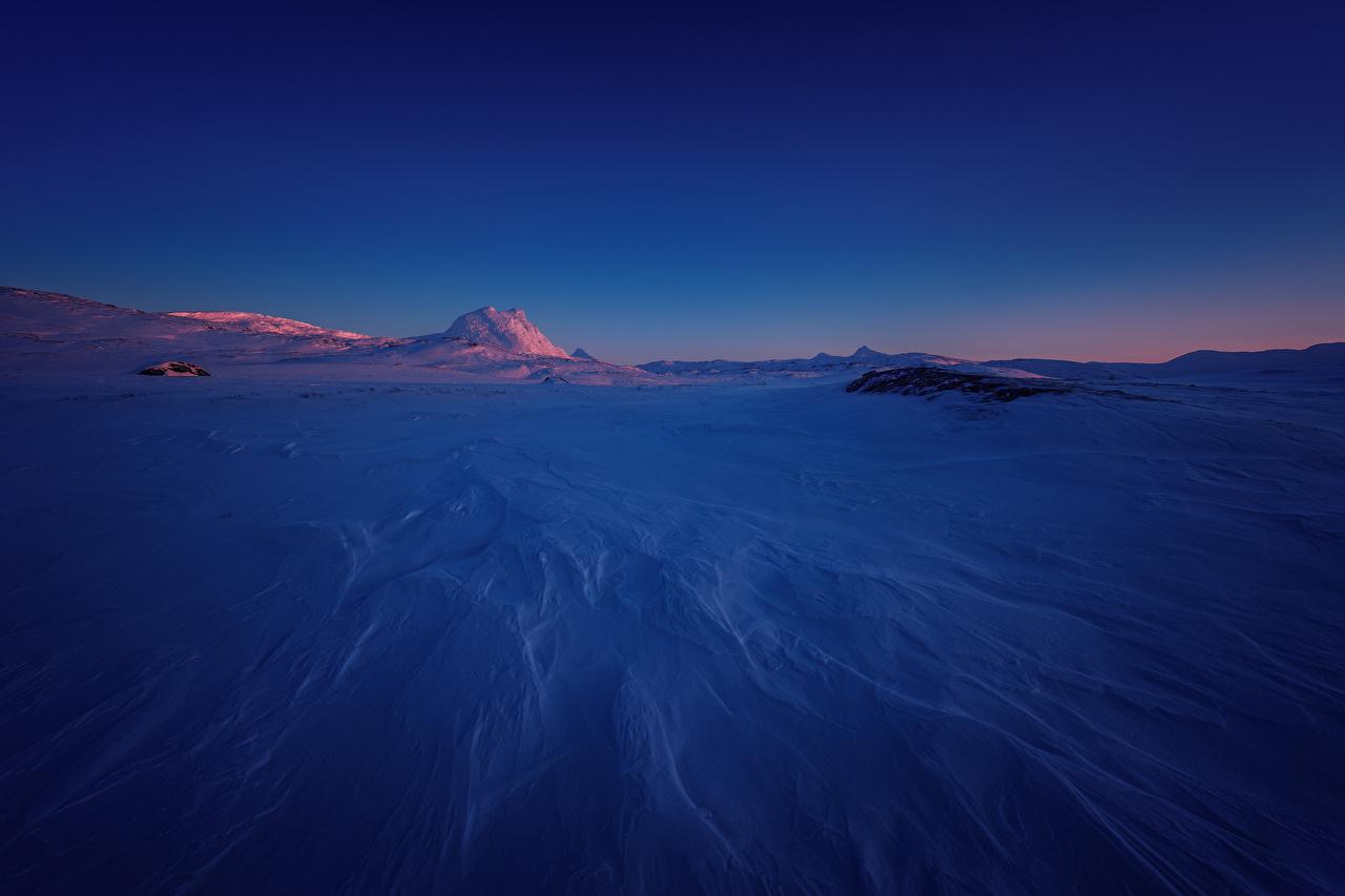 Фотография Норвегия Sulitjelma Зима Природа Снег Рассветы и закаты зимние