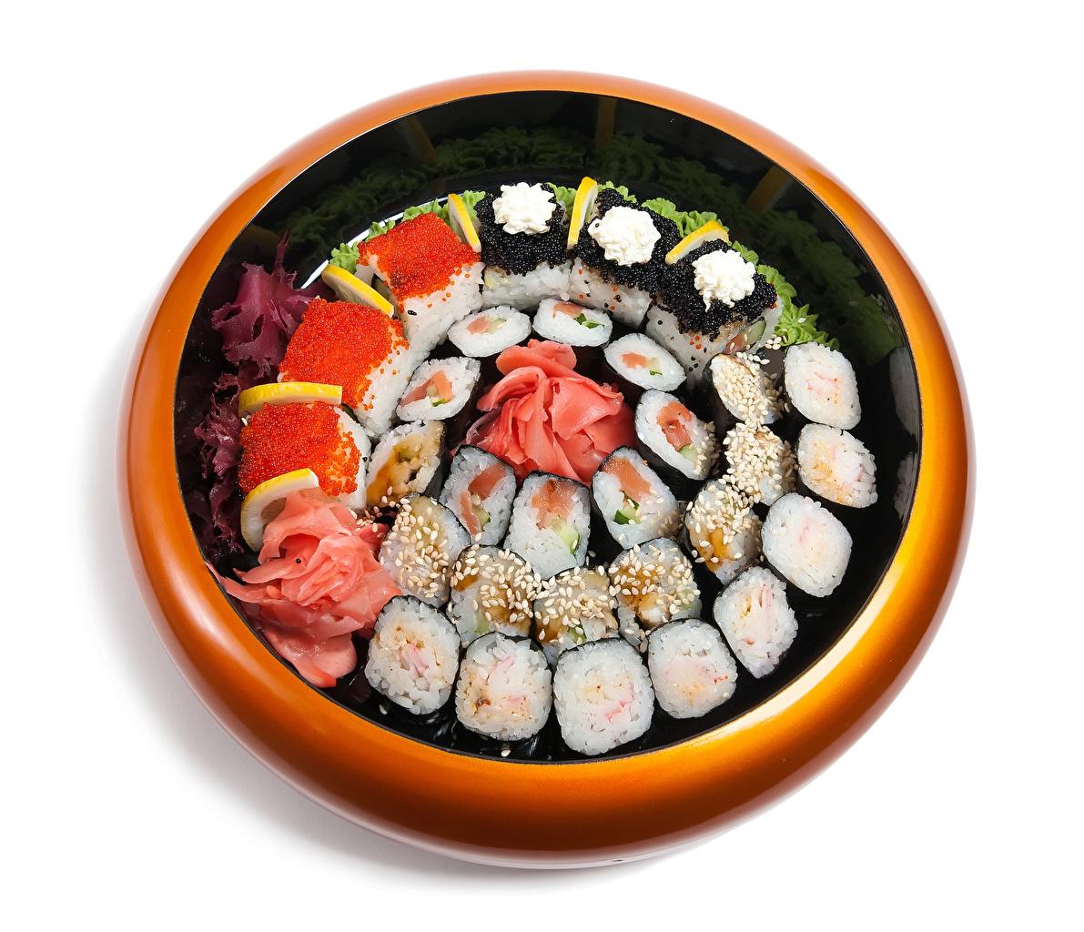 Фото Икра суси Пища Белый фон Морепродукты Суши Еда Продукты питания белом фоне белым фоном