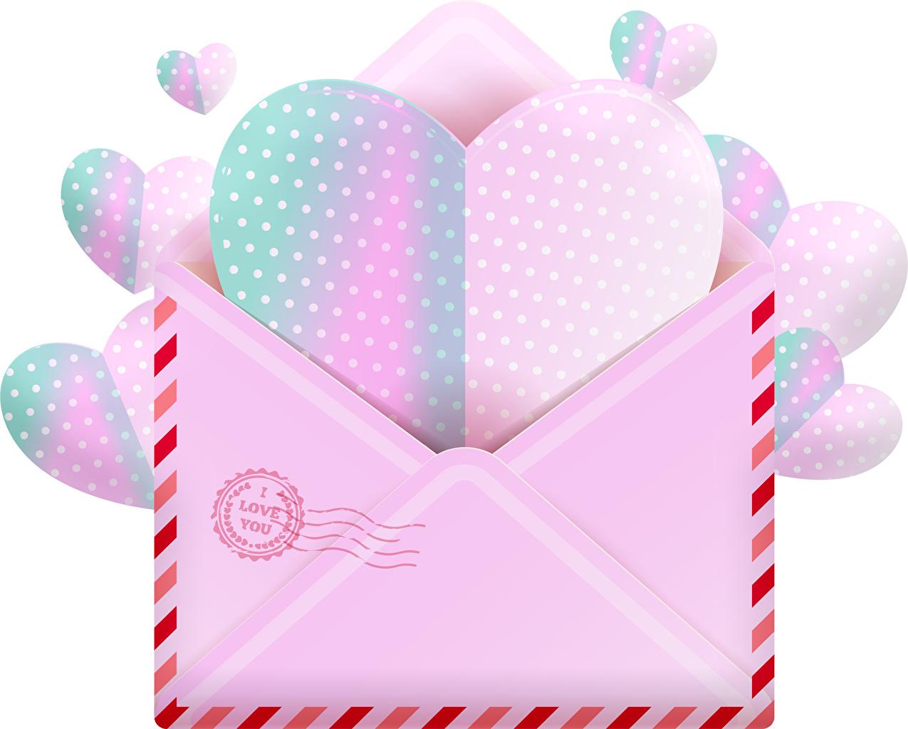 Фотографии Конверт День святого Валентина сердечко Письмо Белый фон День всех влюблённых серце Сердце сердца письма белом фоне белым фоном