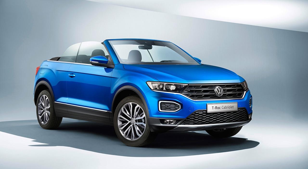 Фотографии Volkswagen T-Roc, Cabriolet, 2020 Кабриолет синие Автомобили Фольксваген кабриолета синих Синий синяя авто машина машины автомобиль