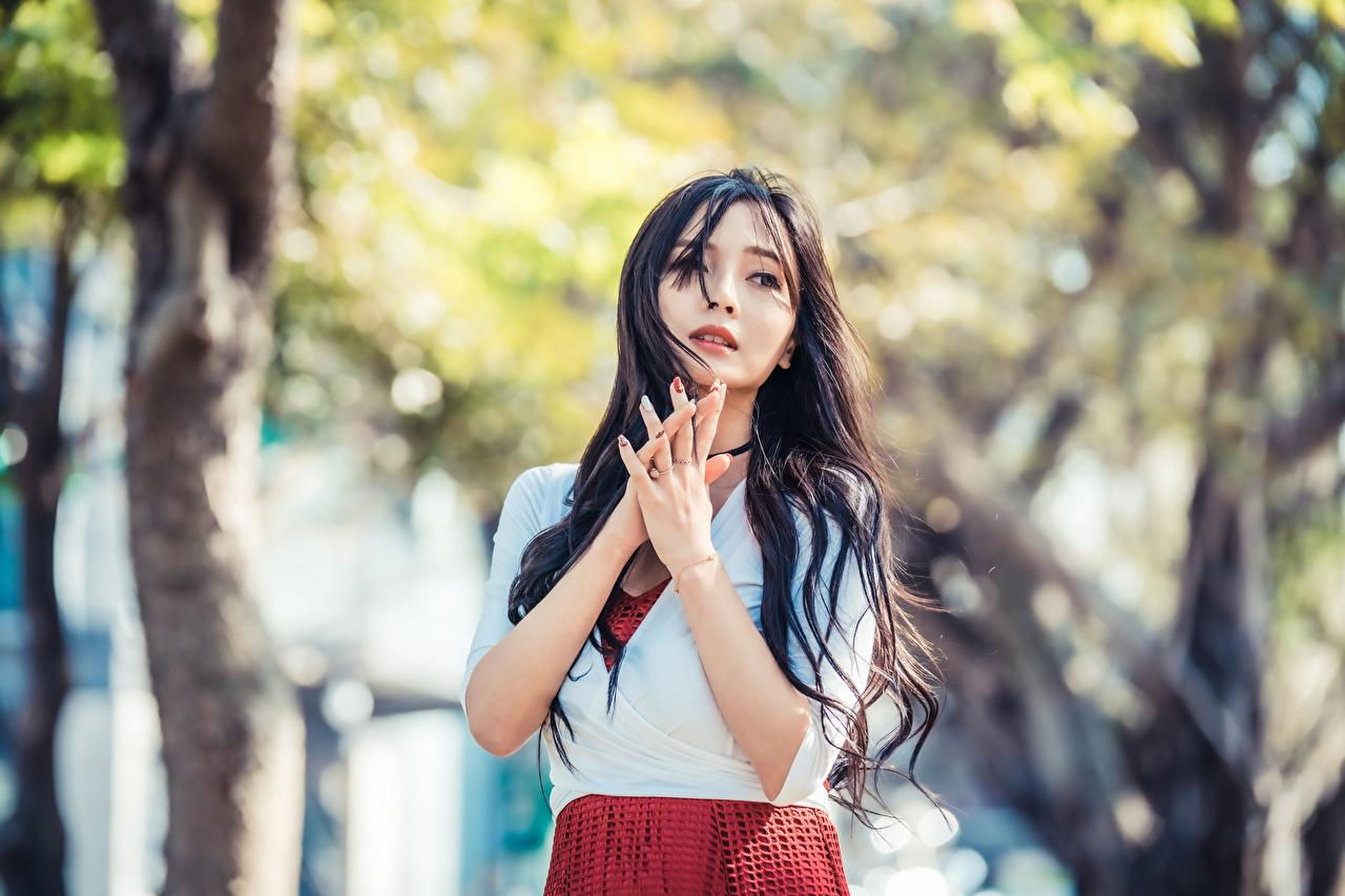 Фотография брюнетки Размытый фон молодые женщины азиатка рука Взгляд Брюнетка брюнеток боке девушка Девушки молодая женщина Азиаты азиатки Руки смотрит смотрят