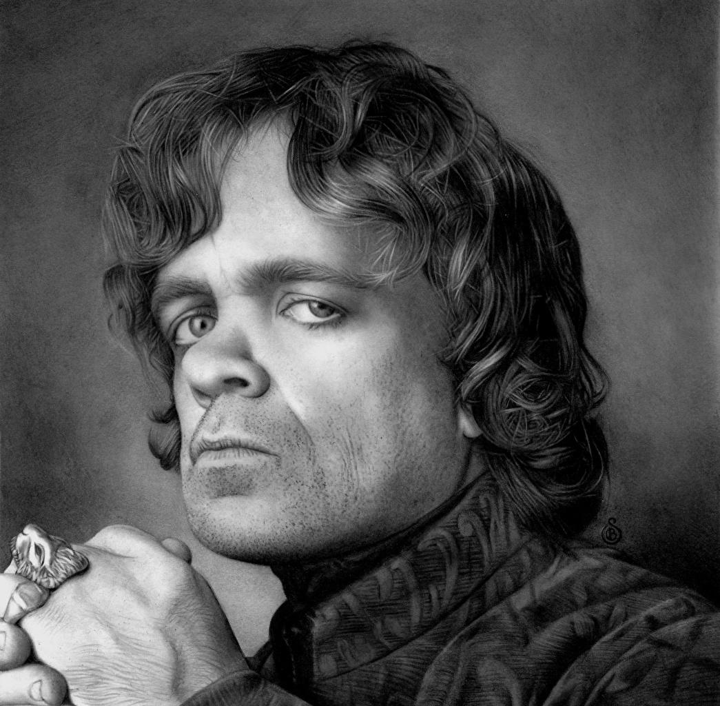 Картинка Игра престолов (телесериал) Питер Динклэйдж Мужчины Tyrion Lannister кино Черно белое Взгляд Голова Знаменитости мужчина Фильмы черно белые головы смотрят смотрит