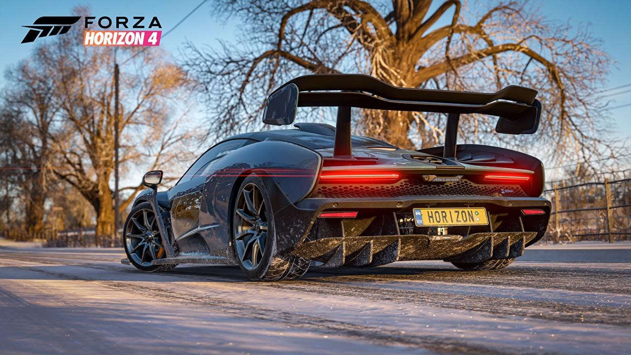 Обои для рабочего стола машины Макларен Senna E3 2018 компьютерная игра Сзади Forza Horizon 4 3D Графика авто машина автомобиль Автомобили McLaren Игры вид сзади 3д
