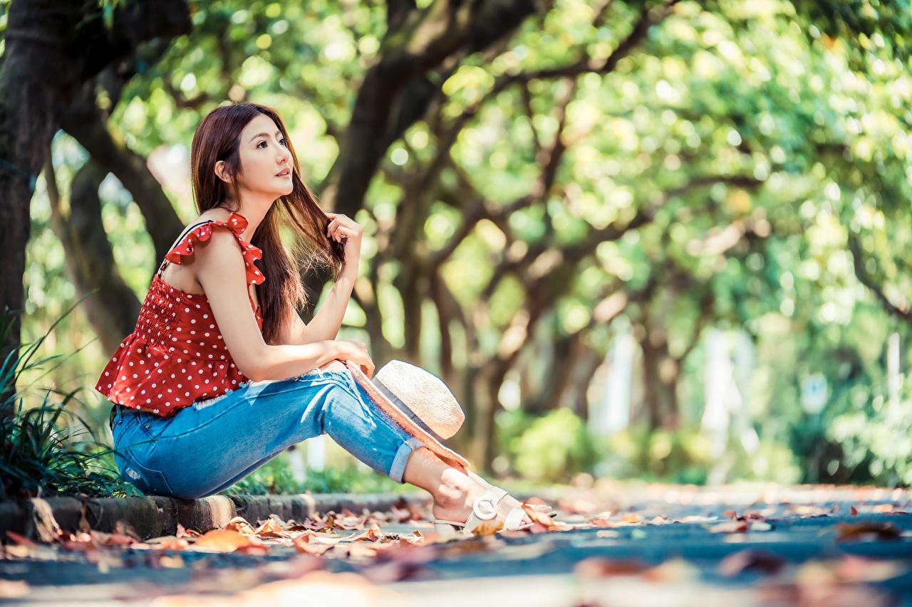 Фотография Размытый фон Блузка шляпы Девушки Азиаты Джинсы сидя боке Шляпа шляпе девушка молодая женщина молодые женщины азиатки азиатка джинсов Сидит сидящие