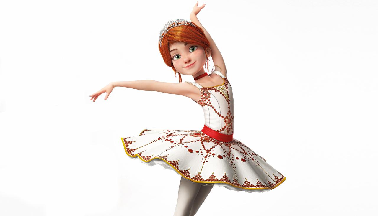 Фото Рыжая балета Balerina (Felis) позирует девушка Мультики 3D Графика Белый фон Платье рыжие рыжих Балет балете Поза 3д мультик Девушки Мультфильмы молодая женщина молодые женщины белом фоне белым фоном платья