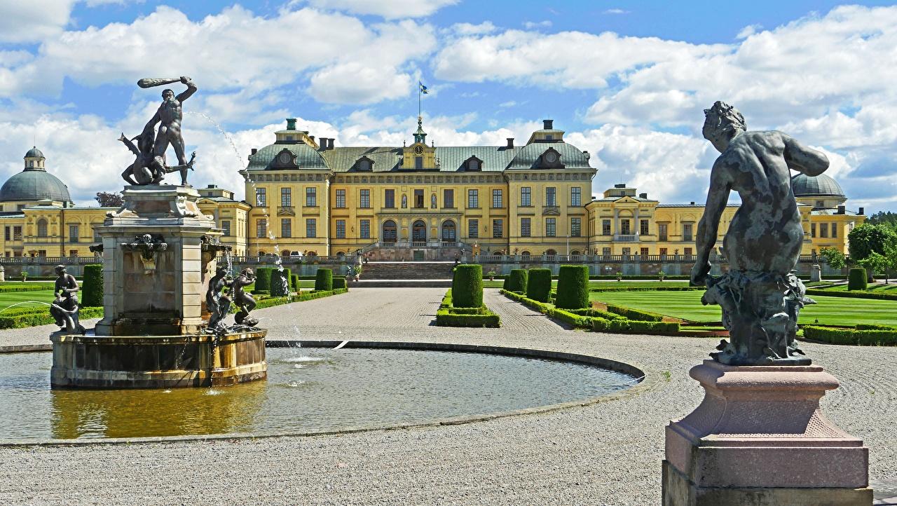 Фотографии Стокгольм дворца Швеция Фонтаны Drottningholm город скульптура Дворец Города Скульптуры