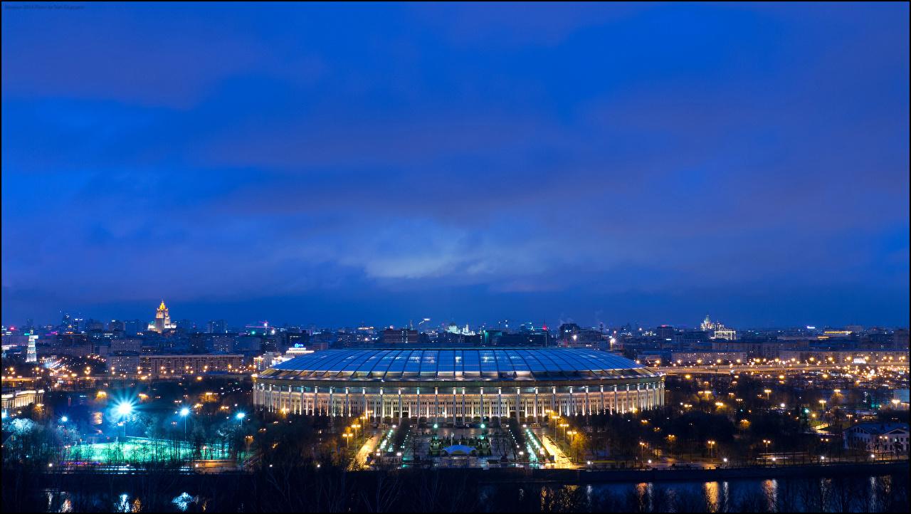 Фотография Москва Россия Luzhniki Stadium ночью Уличные фонари город Ночь в ночи Ночные Города