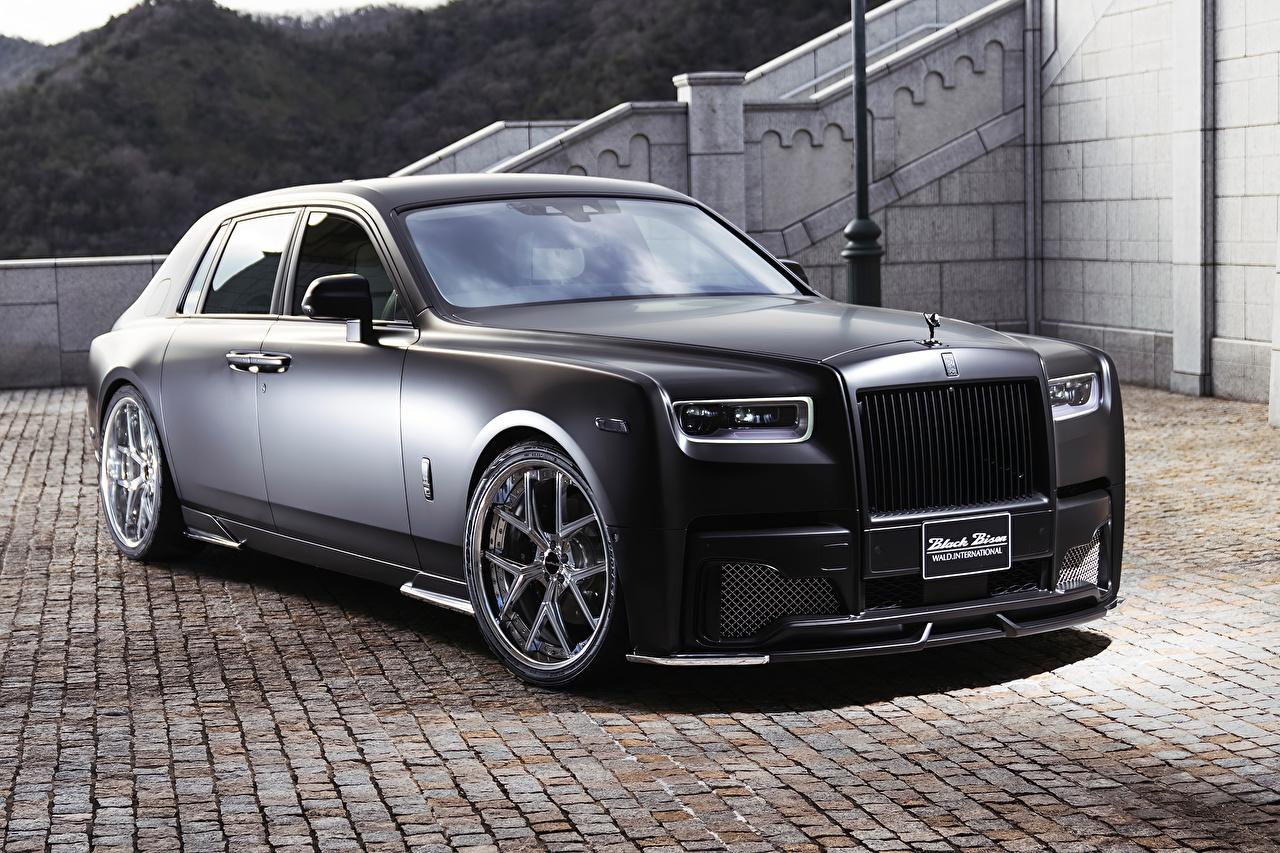 Обои для рабочего стола Роллс ройс 2019 WALD Phantom Sports Line Black Bison Edition черных авто Rolls-Royce черная черные Черный машина машины Автомобили автомобиль