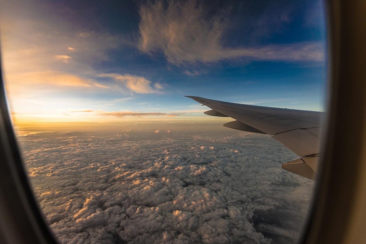 Фотография Крыло самолёта Самолеты Иллюминатор Окно Полет Облака Авиация летящий
