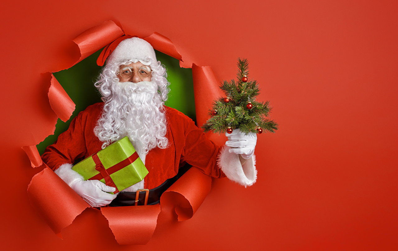 Картинки Новый год бородатый Санта-Клаус Новогодняя ёлка подарков Униформа Красный фон Рождество Борода бородой бородатые Елка Дед Мороз подарок Подарки униформе красном фоне