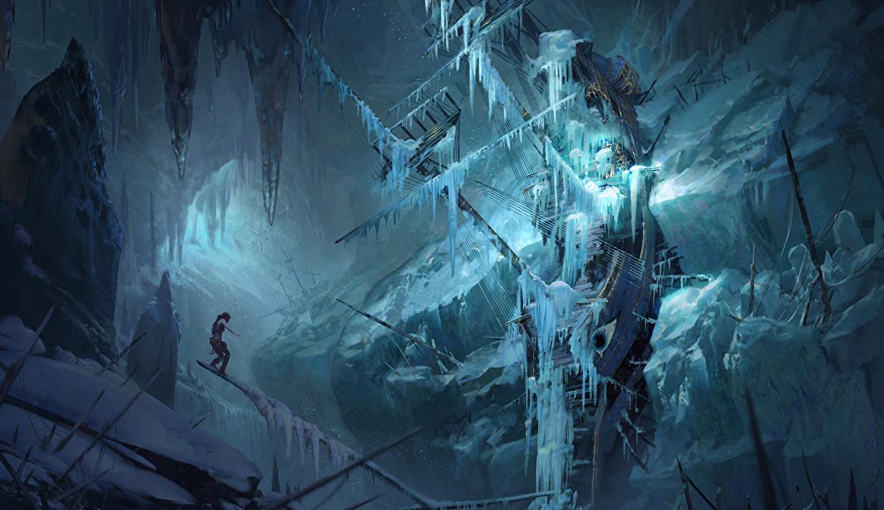 Картинка Rise of the Tomb Raider Лара Крофт Лед Корабли компьютерная игра Парусные льда Игры корабль