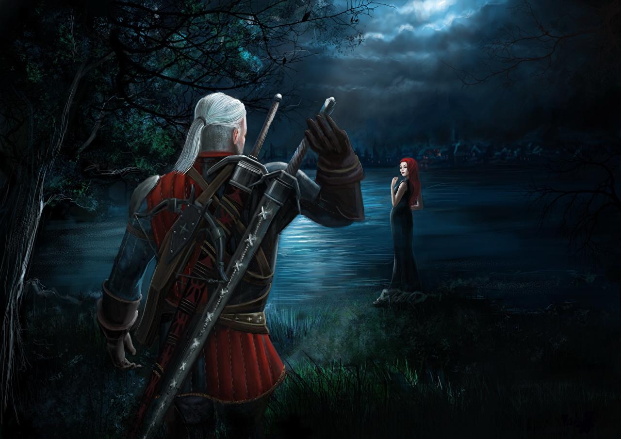 Картинка Ведьмак 3: Дикая Охота Мечи Геральт из Ривии воины Игры Ночные The Witcher 3: Wild Hunt Воители Ночь