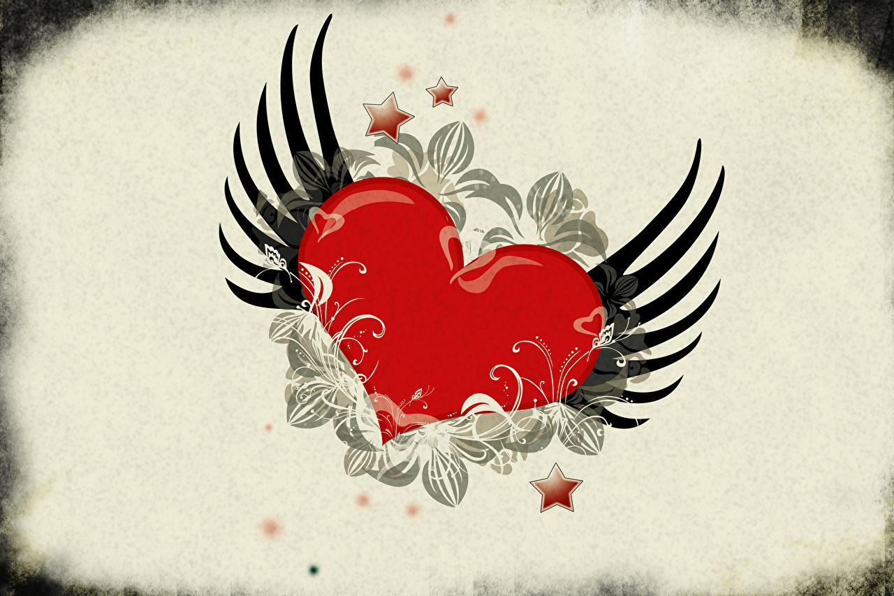Картинка День святого Валентина Звездочки сердечко Крылья День всех влюблённых серце сердца Сердце