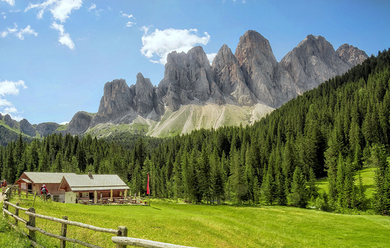 Фотографии альп Италия Santa Maddalena Горы Природа Леса Луга Здания Альпы гора лес Дома